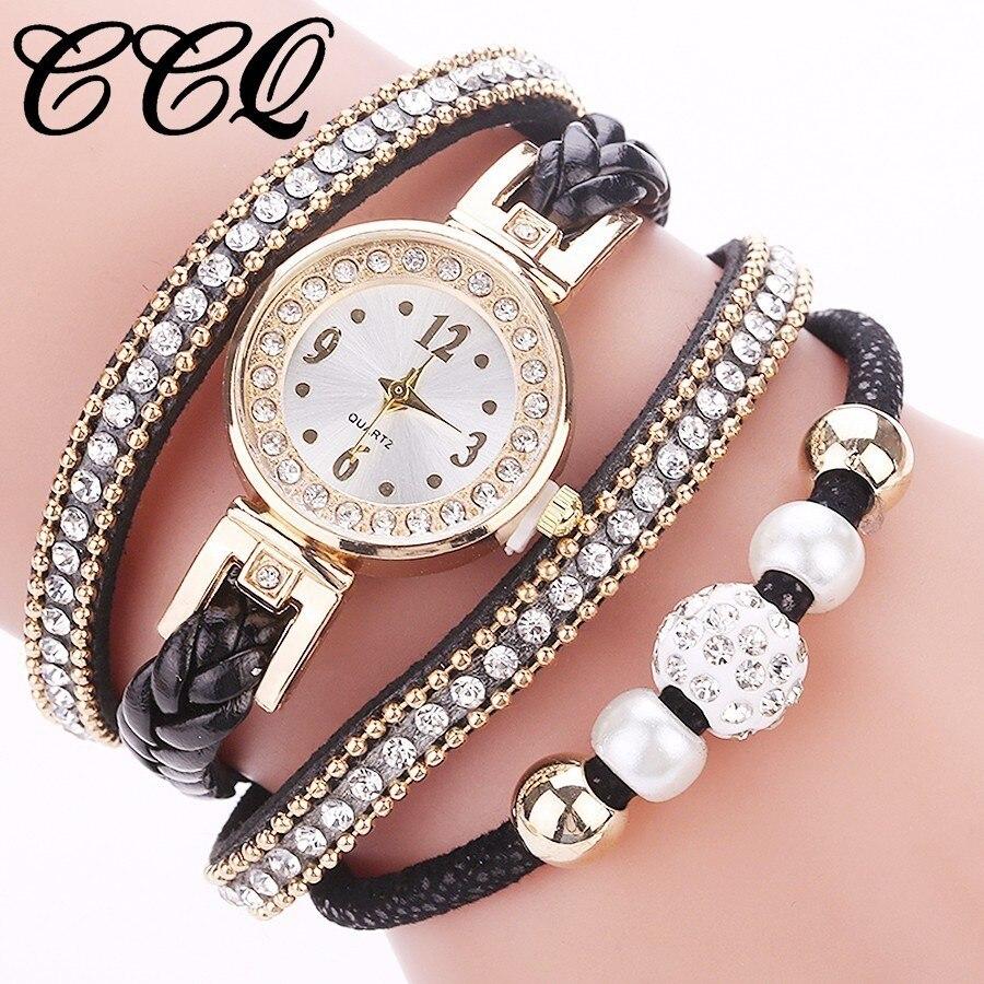 CCQ Fashion Women Rhinestone Bracelet Watch Ladies Luxury Jewelry Watch Casual Women Wrist Watch Multilayer Relogio Feminino