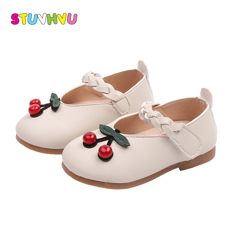 Autumn girl shoes toddler kids shoes leather round head cherry girls shoe soft bottom rubber little kid shoes 1-3 years oldAutumn girl shoes toddler kids shoes leather round head cherry girls shoe soft bottom rubber little kid shoes 1-3 years old