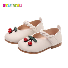 цена на Autumn girl shoes toddler kids shoes leather round head cherry girls shoe soft bottom rubber little kid shoes 1-3 years old