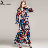 Vintage Poker Flower Print Pajamas Dresses 2017 Autumn Fashion Full Sleeve High Quality Sashes Splited V