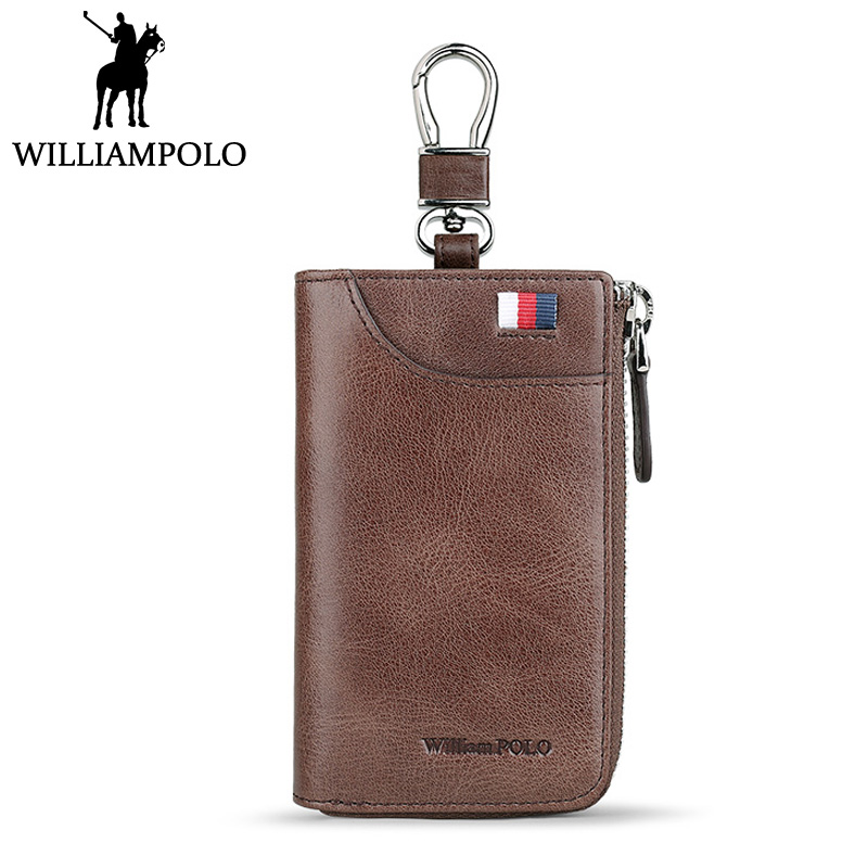 WILLIAMPOLO Vintage Men Car Key Holder Genuine Leather key Case With Buckle Fashion Leather Keys Organizer Wallet Khaki Brown очки oakley oakley flak 2 0 xl белый