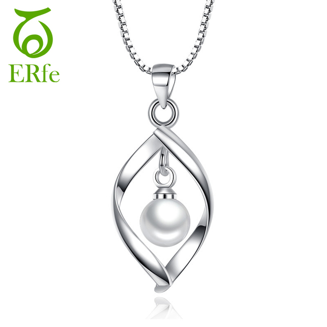 ER Cute Imitation Pearl Necklace Silver Color Necklase Spiral