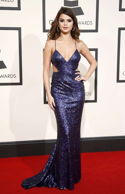 6326fd07b71 Selena Gomez Grammys Dress Sexy V Neck Backless Spaghetti Mermaid Sequins Celebrity  Dress Sequins Lace Long Formal Evening Gowns