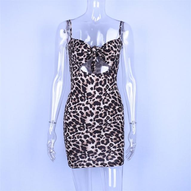 Spaghetti straps leopard short dress