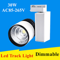 DHL LED Track Light 30W Dimmable COB Rail Light Spotlight Lamp Replace 300W Halogen Lamp AC85 265V Spot Lamp Bulb