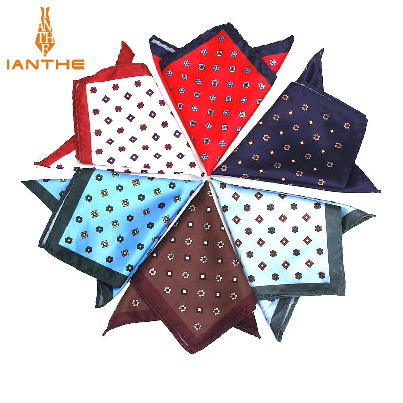 Luxury Men's Handkerchief Vintage Check Pocket Square Soft Hankies Wedding Party Business Hanky Chest Towel Gift 24*24CM
