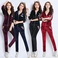 M-2XL 2017 Autumn Gold Velvet Fashion Suit Women Casual Women's Tracksuit Set Feminino Sportsuit Plus Size Two Piece Set