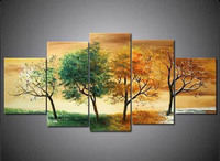 5 Piece Wall Art Modern Abstract Botanical Oil Painting On Canvas Tree Of Life Painting Fine Art Pentaptych Wall Decor Floral