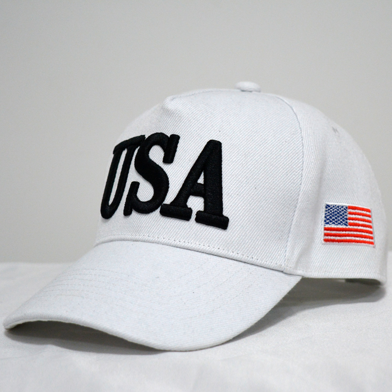 White Baseball Cap Trump Hats Brand USA Flag Baseball Caps Men Women Baseball  Cap Golf Cap Make American Great Dad Hat eb08e12f4b1
