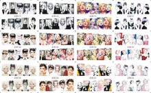 156Design 12 Sheets/Lot Audrey Hepburn Marilyn Monroe WATER NAIL ART STICKERS BN01-BN156