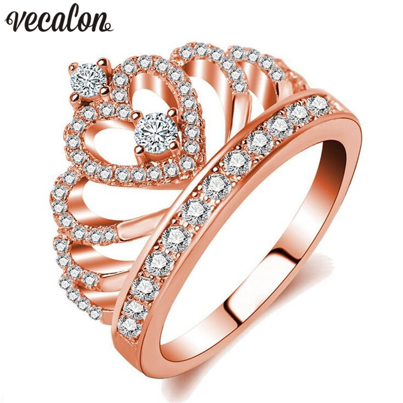 Vecalon Crown Jewelry Women ring 5A Zircon Diamonique Cz Rose Gold Filled Engagement wedding Band ring