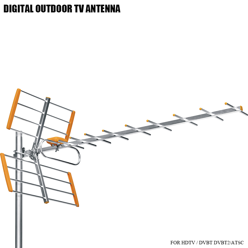 Alta Ganancia HDTV antena de TV Digital al aire libre para DVBT2 HDTV ISDBT ATSC alta ganancia fuerte señal antena de TV al aire libre