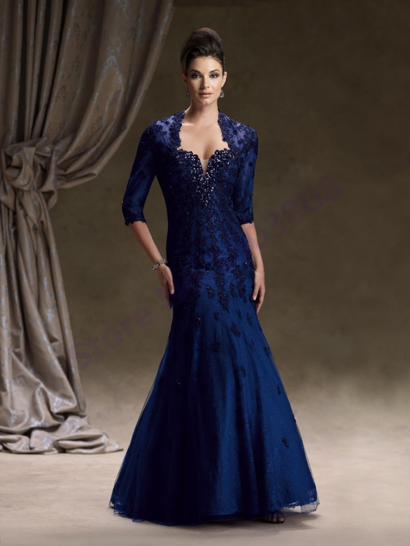 Mermaid Style Royal Blue Color Applique Beadings Organza Mother of The Bride  Dress With Bolero Jacket Forml Evening Gowns 2014 dd3b388a4baa