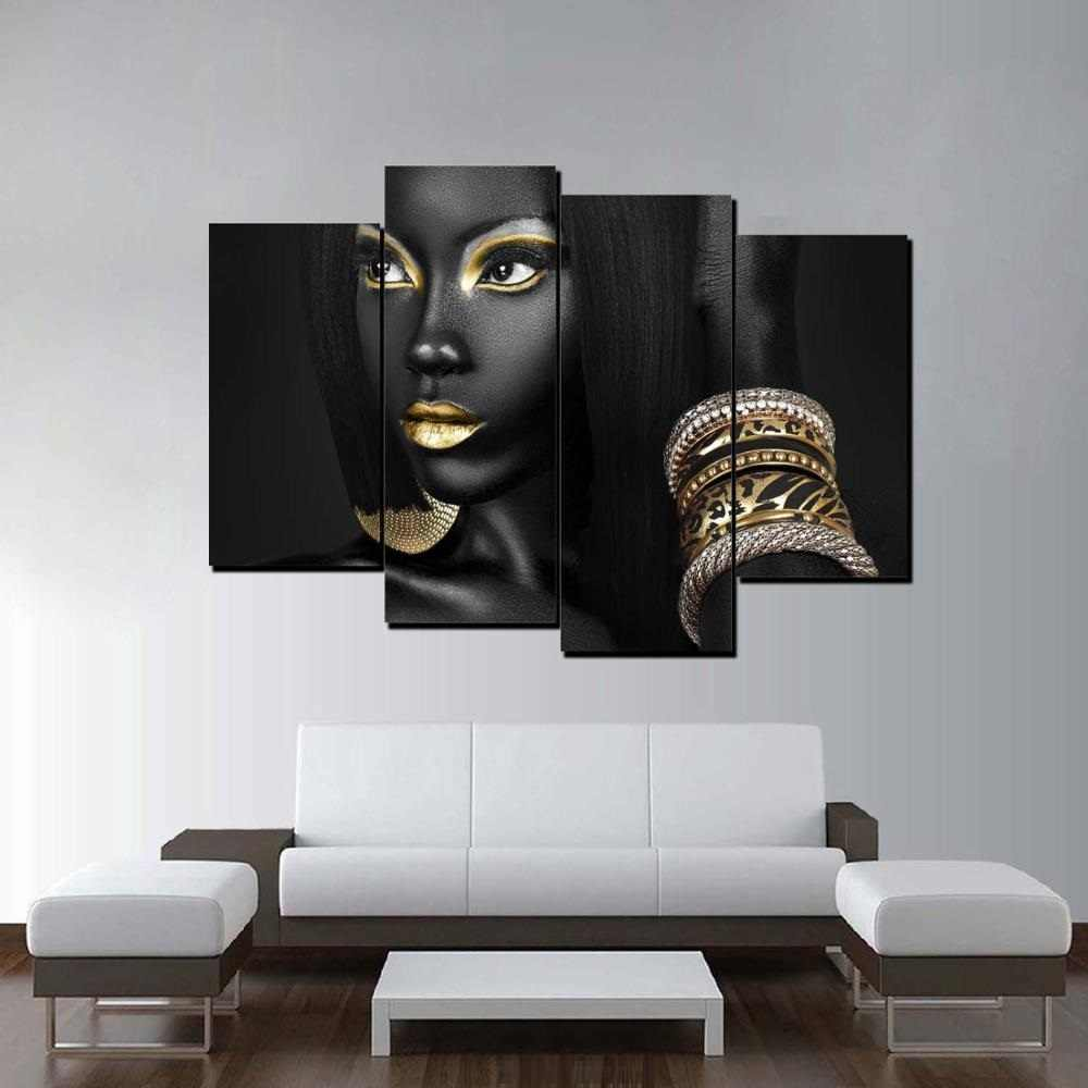 Golden Egyptian Queen Beauty Black Woman Portrait Wall Art Canvas Print Picture Painting for Home Living Room Decor Dropship