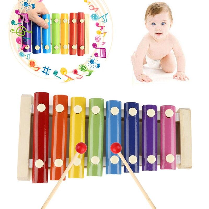 Instrumentos musicais de madeira, instrumentos de brinquedo musical criativos, de madeira, 8 notas, xylophone para crianças, brinquedos musicais de desenvolvimento de inteligência