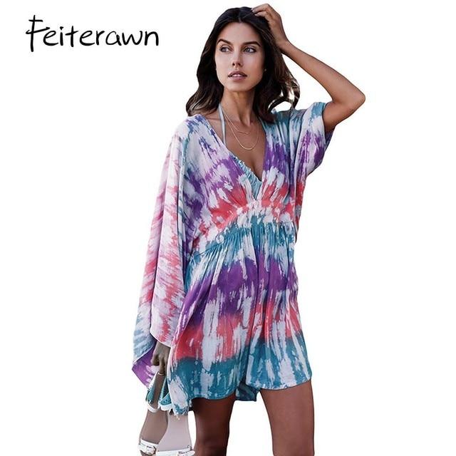61d6cadb002 Feiterawn Multicolore Tie Dye Imprimer Mini Robe de Plage D été Femmes Sexy  V Cou