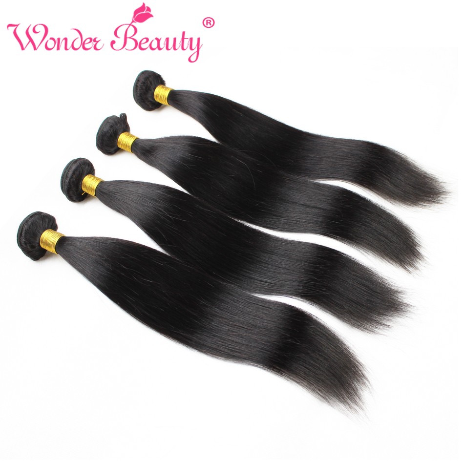 Wonder Beauty Malaysian Hair Straight Hair Natural Black Hair With 4 Bundles Length From 8 Inches To 30 Inches Free Shipping-in 3/4 Bundles from Hair Extensions & Wigs    1