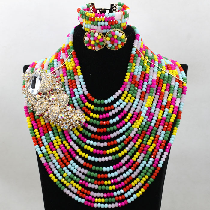 Charming Multicolor Full Beads Crystal Party Jewelry Set Indian Bridal Inpiration Gift Jewellery Set Free Shipping HX944 allure charming party magic set