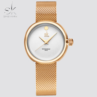 Shengke New Fashion Ladies Quartz Watches Top Brand Watch Stainless Steel Mesh Belt Women S Clock