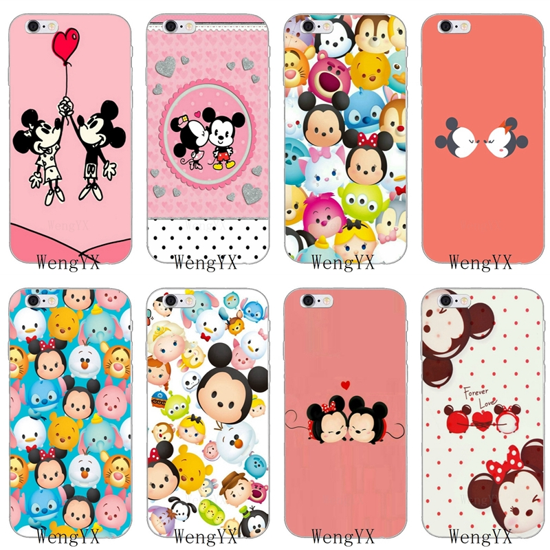 Cartoon Tsum Tsum Mickey Minnie Slim silicone Soft phone case For iPhone 4 4s 5 5s
