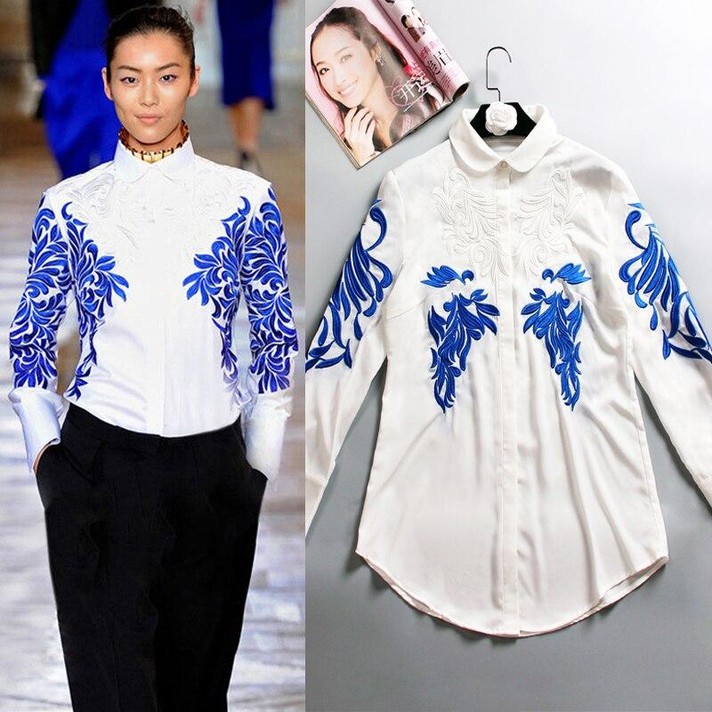 Femmes à manches longues chemises broderie blanc Blouse bureau dame OL Peter Pan col Floral coton chemises Outwear hauts