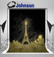 gold eiffel tower paris city glitter dust black bokeh photography backgrounds Vinyl cloth Computer print party backdrop