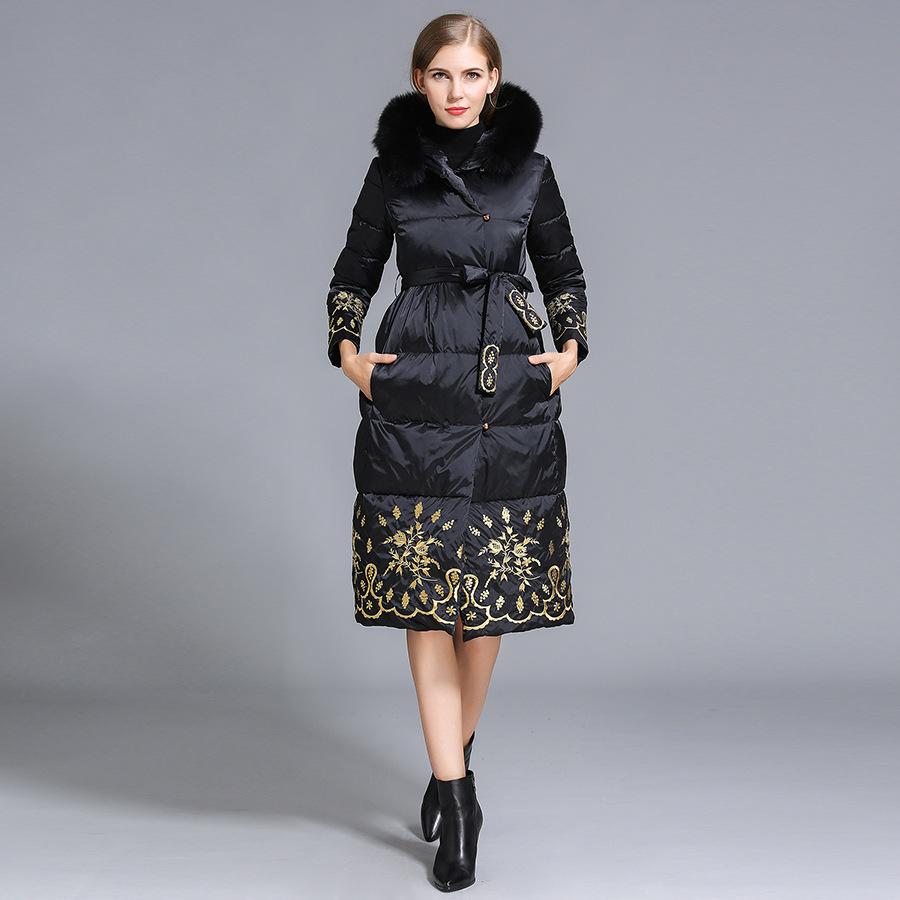 2016 winter Jacket Women Down Jackets embroidery Flower Fox Fur Hood Parka thick Womens down coat Slim long Duck down Outerwear