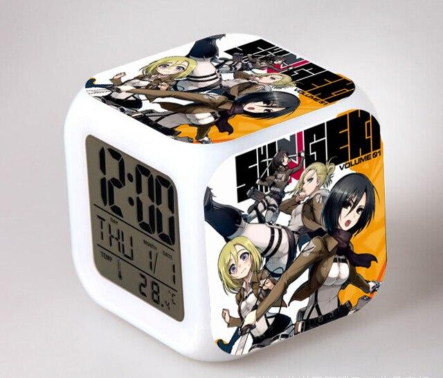 Attaque danime sur Titan figurines réveil numérique Shingeki No Kyojin Reloj Despertador Saat horloge LED jouets de Collection