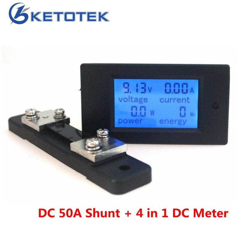 DC 6.5-100V 50A/100A Digital Voltmeter Ampermeter LCD 4 in 1 DC Voltage Current Power Energy Meter Detector with Shunt peacefair dc 6 5 100v 50a 4 in1 digital lcd voltage current power energy voltmeter ammeter panel meter 50a shunt