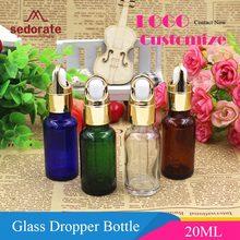 Флакон-капельница Sedorate, 20 шт./лот, Янтарное стекло, голубой и зеленый цвета, бутылка для эфирных масел, 20 мл, контейнер для макияжа, стеклянный...