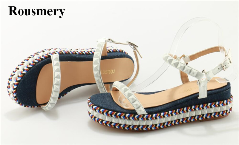 Fond De forme Sandales Sangle Cheville Blanc Haute Design Verre Belle Robe Pic Plate Chaussures Femmes Mode H07UnR5