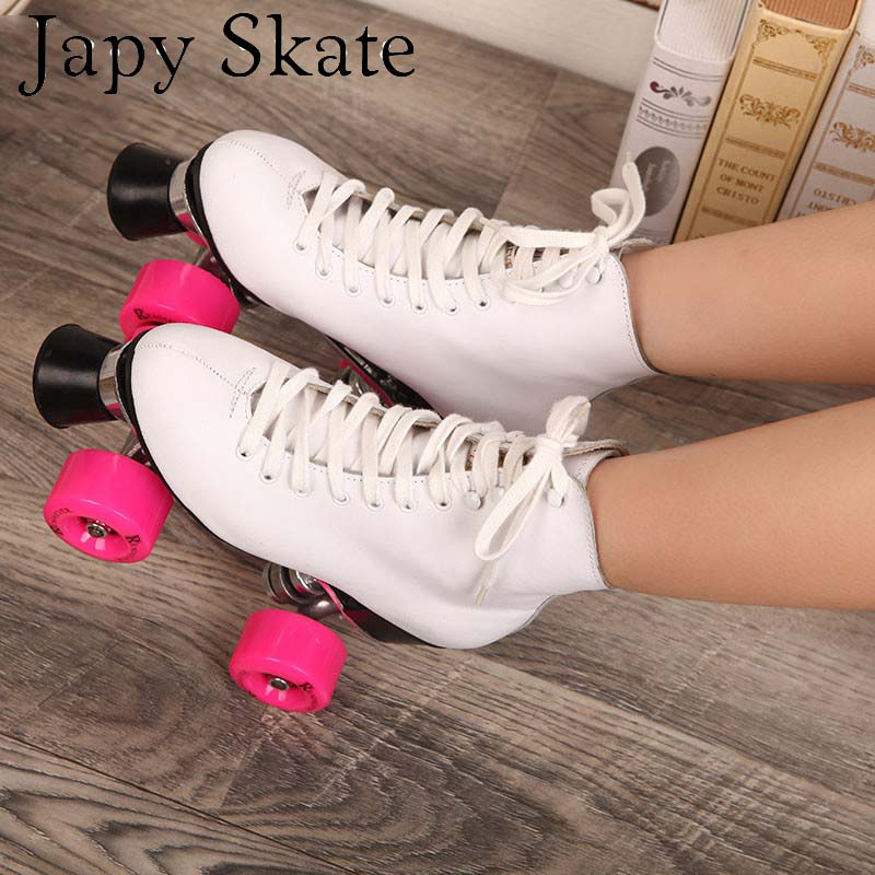 Double Roller Skates With Genuine Leather Boot Metal Base Women 4 Wheels Skates Two Line Adult Skating Shoes japy roller skates geniune leather double line skate pink men women adult pink pu 4 wheels two line skating shoes patines c004