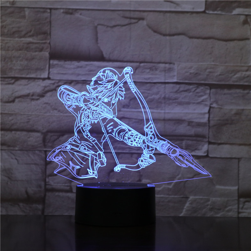 The Legend of Zeldass Action Figure Link Zelda Breath of the Wild Night Light Jiren 3D Illusion Table Lamp Zelda 3D Lighting image
