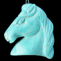 Min Order Is 10 USD Mixed Order Carved Blue Turquoise Horse Head Pendant Bead