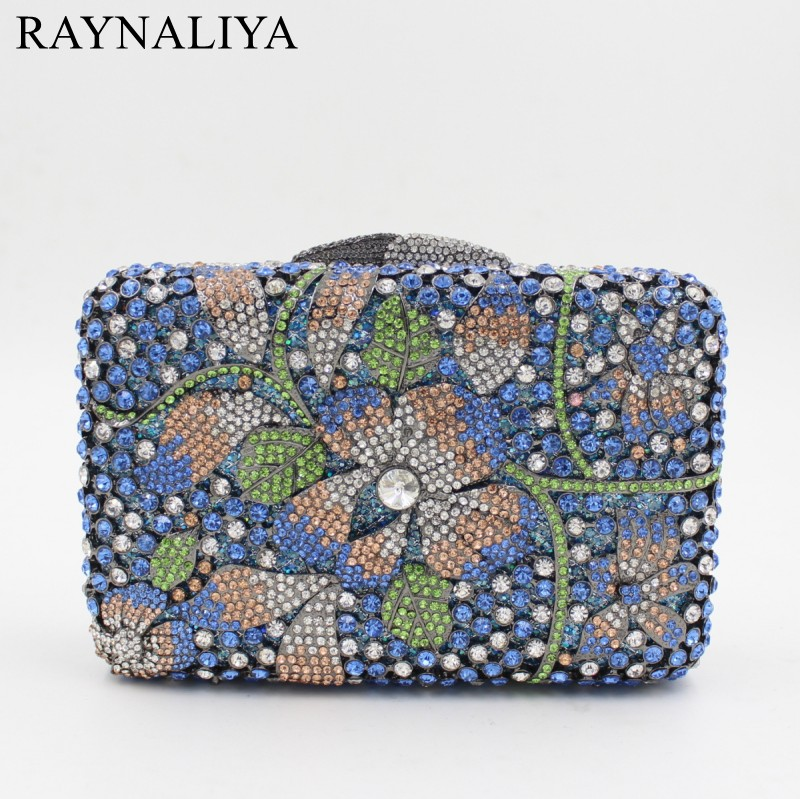 цены на Women Crystal Clutches Fashion Party Blue Bags Ladies Evening Clutch Bag Female Flower Diamonds Minaudiere Smyzh-f0291 в интернет-магазинах