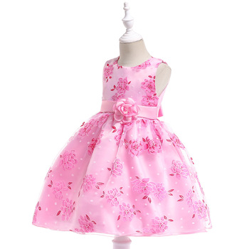 Embroidered Flower Girls Dress Kids Pageant Party Ball Gown Prom Princess Bridal Lace Formal Occassion Knee Dress 4-14Y princess fluffy dress for girls pageant dress floral kids evening ball gown long girls prom dress pink party dress for girls