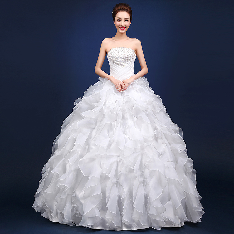 2019 Newest White Strapless Stage Performance Ball Gown Floor Length Annual Party Performances Dresses