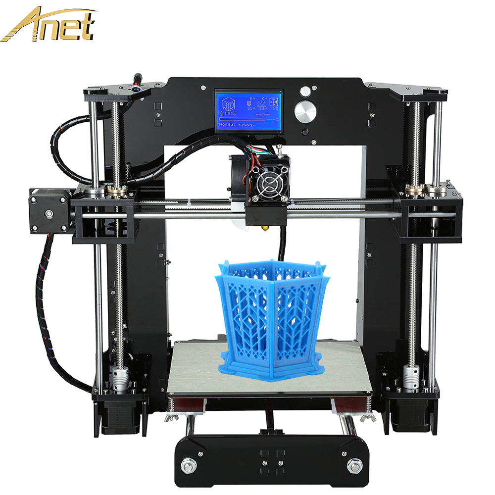 Hot Sale 3d-Printer DIY Anet A6 3d Printer Easy assemble Precision Reprap 3D Printer Kit DIY With Free Filament 16GB LCD Screen anet a6 upgraded prusa i3 3d printer easy assemble pla abs filament 16gb sd card knob lcd screen high quality cheap 3d printer