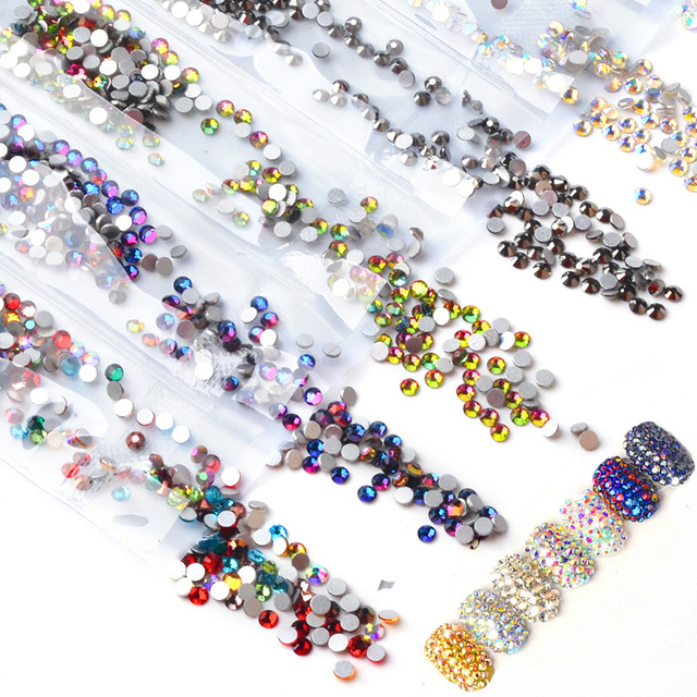 1pack 1440pcs Nail Art Strass Rhinestones Flame Crystal Multi Size 3d  Manicure UV Gel Polish Accessory c6416a723fbf