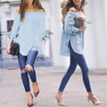 Sexy slash neck women tops Off shoulder summer style tops Women shirt For party tube top Long Sleeve Bow-knot Shirt 41