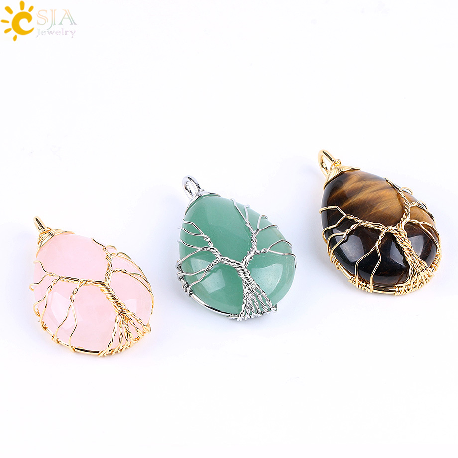 Csja Gold Color Tree Of Life Wire Wrap Water Drop Necklace