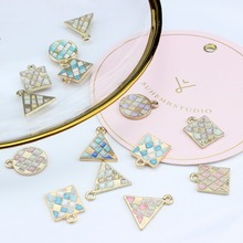 2pcs diy jewelry  small fresh pattern lattice triangle round alloy earrings fashion pendant drop for women