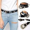 Mulheres magras De Couro Boho Vintage Esculpida de Metal Único Fivela Designer de Couro Cinto Cintura Strap feminino ceinture femme