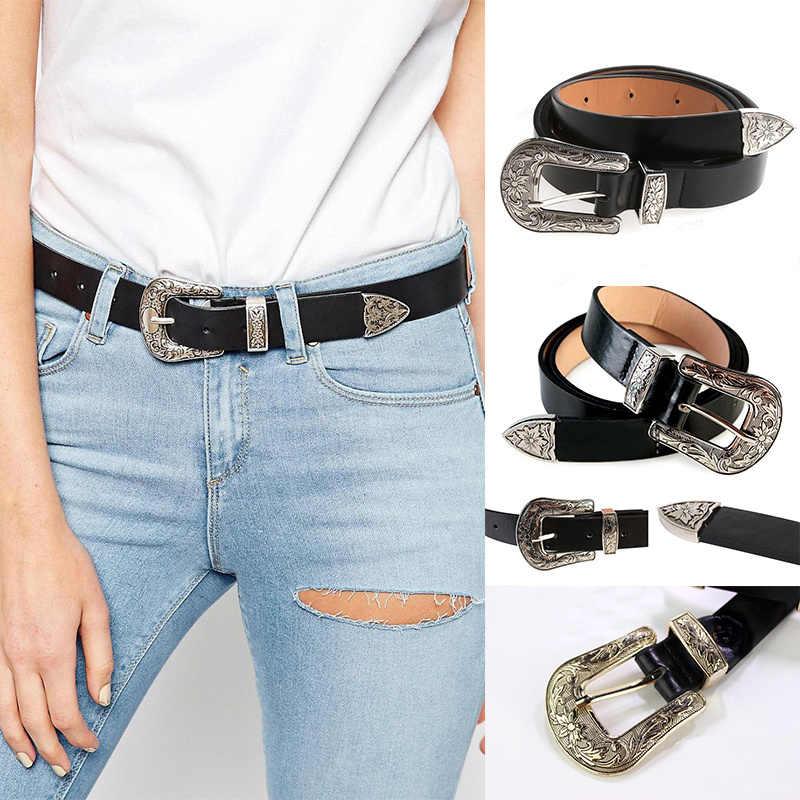 695563466 ... Skinny Women Vintage Carved Metal Boho Leather Single Buckle Leather  Designer Waist Belt Waistband Strap female ...