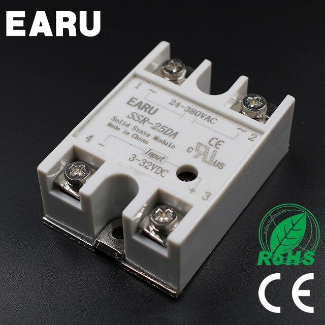 1 ST SSR-25 DA SSR-25DA 25A SSR Relais ingang 3-32VDC output 24-380VAC voor PID TEMPERATUURREGELAAR Moudle Transformator