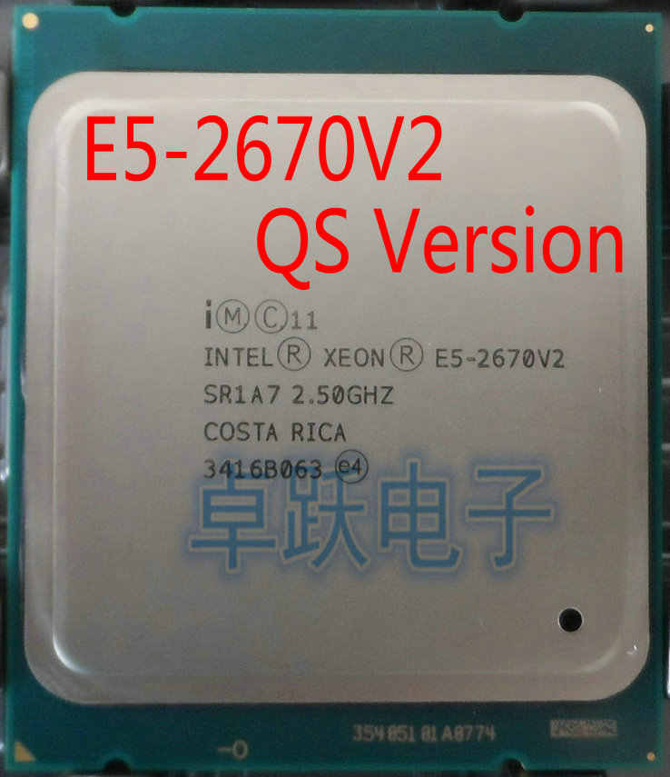 Original Intel Xeon QS Version CPU E5-2670V2 2.50GHz 10-core 25M LGA2011 E5 2670V2 Processor free shipping