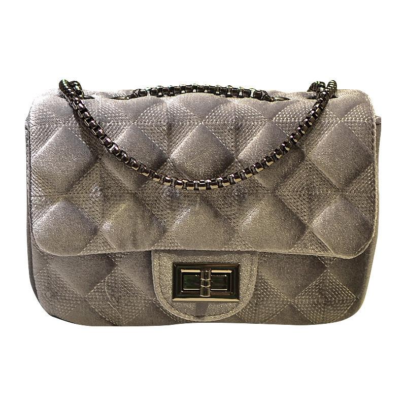 steelsir Casual Plaid Velour Shoulder Bag Women Bag Luxury Chain Handbags Designer Brand Ladies Crossbody Messenger Velvet Bags