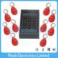 2016 Teclado fechadura eletrônica mini controlador pequeno tamanho 125 khz Rfid / em Id Card porta dispositivo de controle de acesso com 10 Red Keyfobs