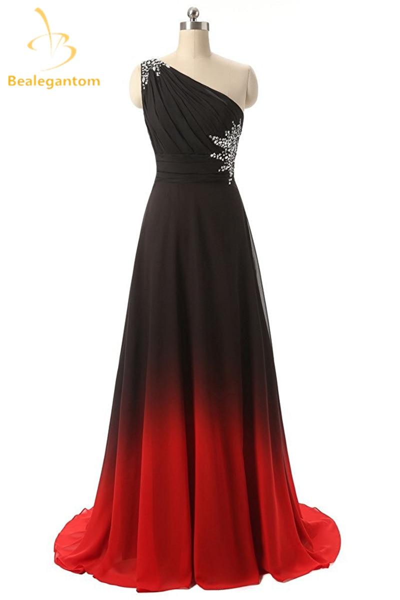 Bealegantom One Shoulder Black Red Ombre Prom Dresses 2018 ...