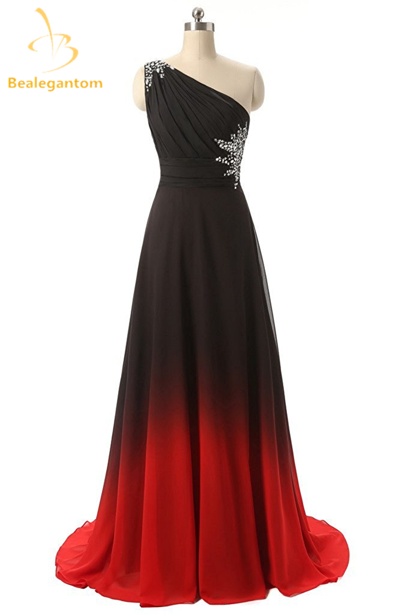 Bealegantom One Shoulder Black Red Ombre   Prom     Dresses   2018 With Chiffon Plus Size Evening Party Gowns Vestido Longo QA1078